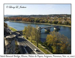 Saint-Benezet Bridge on Rhone from Palais de Papes